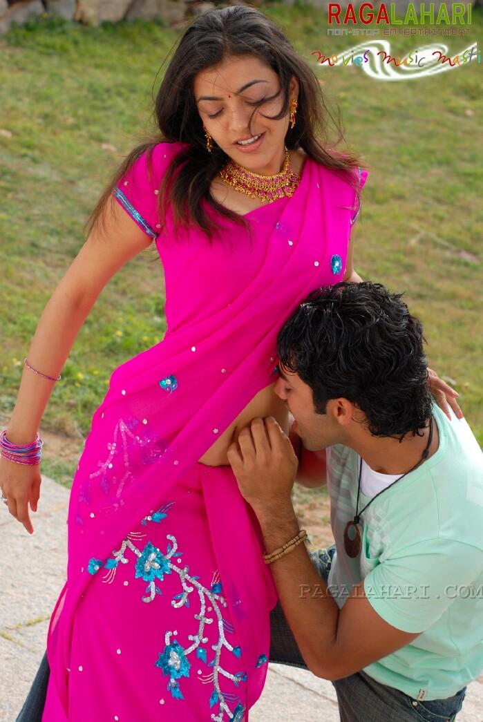 Kajal Agarwal Hot Navel Kiss Photos From Telugu Movie