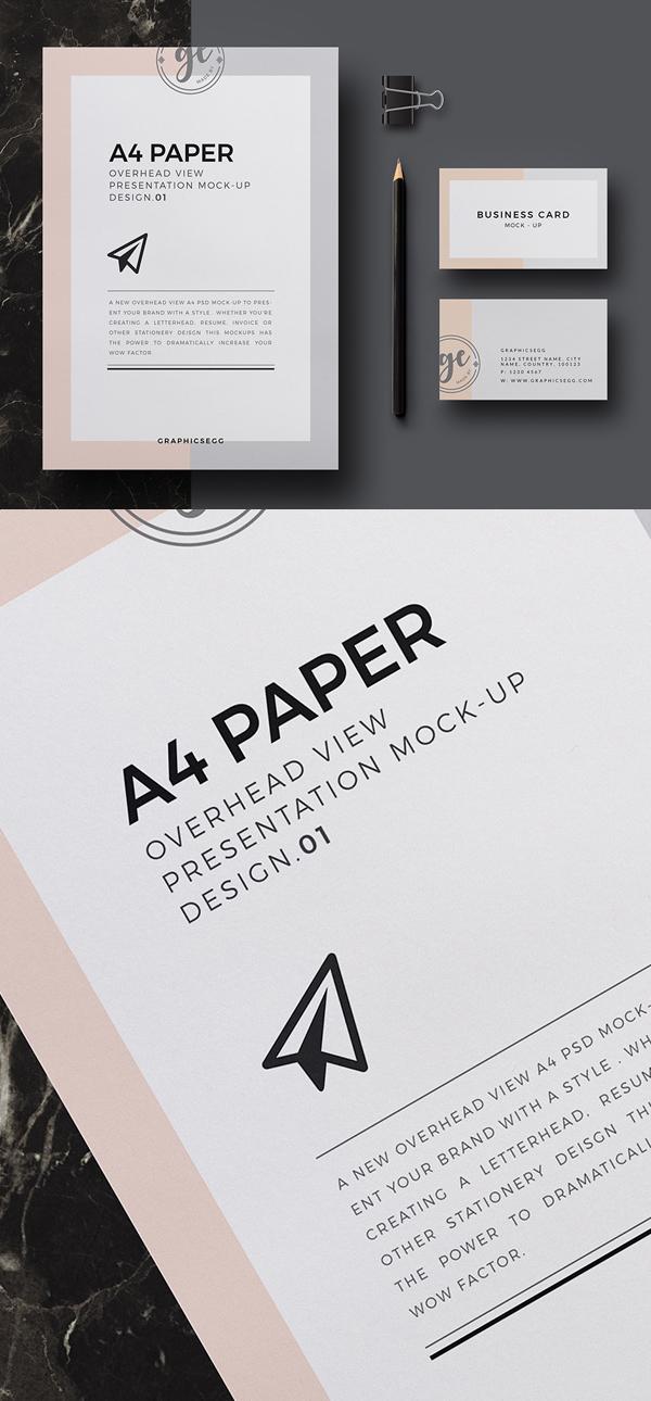Mockup terbaru 2017 gratis - Free A4 Paper Overhead Mockup Design