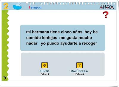 """""""El punto y la mayúscula"""" (Actividad interactiva de Lengua Española de Primaria)"""