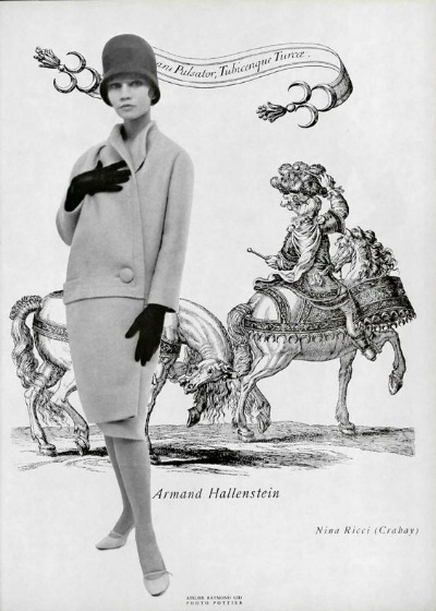 Advertisement featuring model in Nina Ricci suit