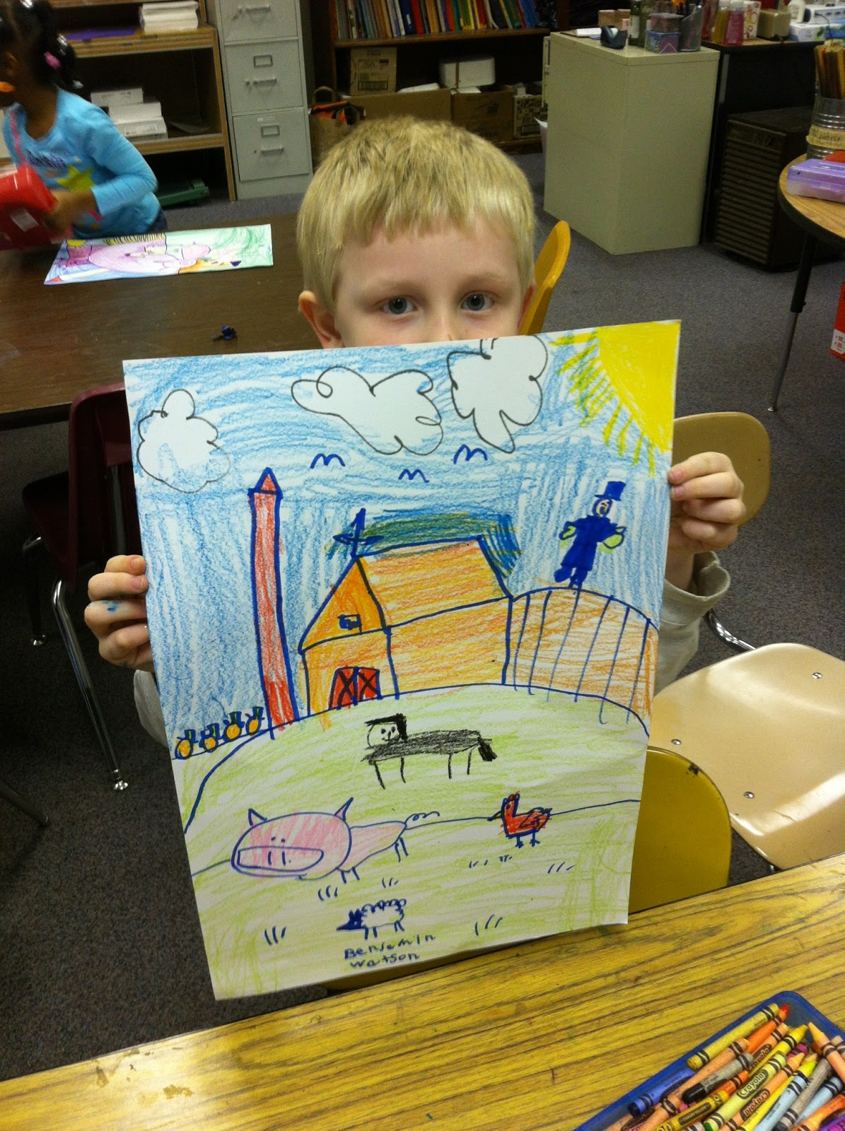 Primary Art Kindergarten Directed Line Farm Drawing