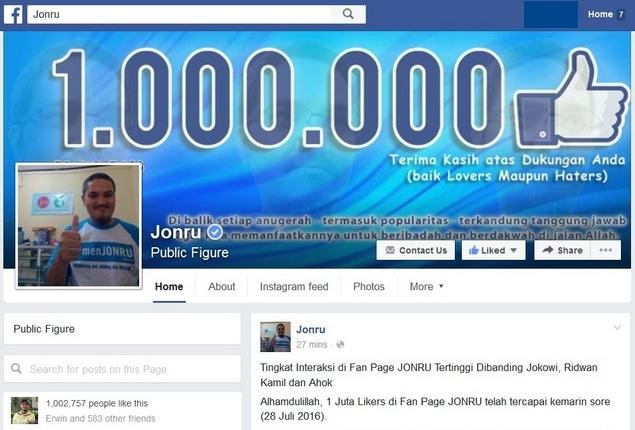 Fanpage Pimpinan Pembenci Jokowi dan Hoax ini Mencapai 1 Juta Likers