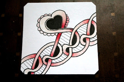 Coloured Heart Skye Zentangle