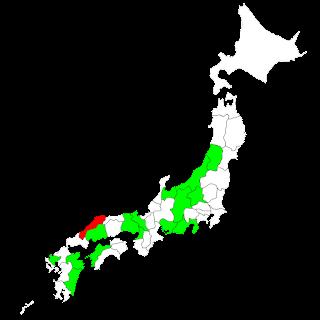 既にタンデム可の地域を緑で塗ってある: 長野,兵庫,愛媛,広島,山形,新潟,宮崎,佐賀,愛知,群馬,京都,富山,大阪,静岡,大分 4月1日から可となる島根県を赤で塗ってある