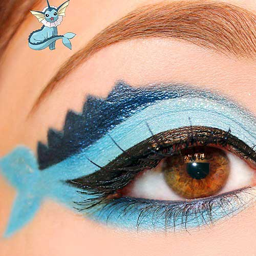 maquillaje ojos pokemon go : Vaporen