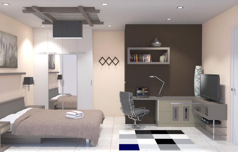kamar tidur dengan meja kerja dan televisi referensi rumah