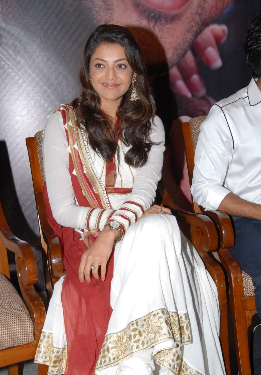 Telugu Actress Kajal Agarwal In White Dress At Audio launch