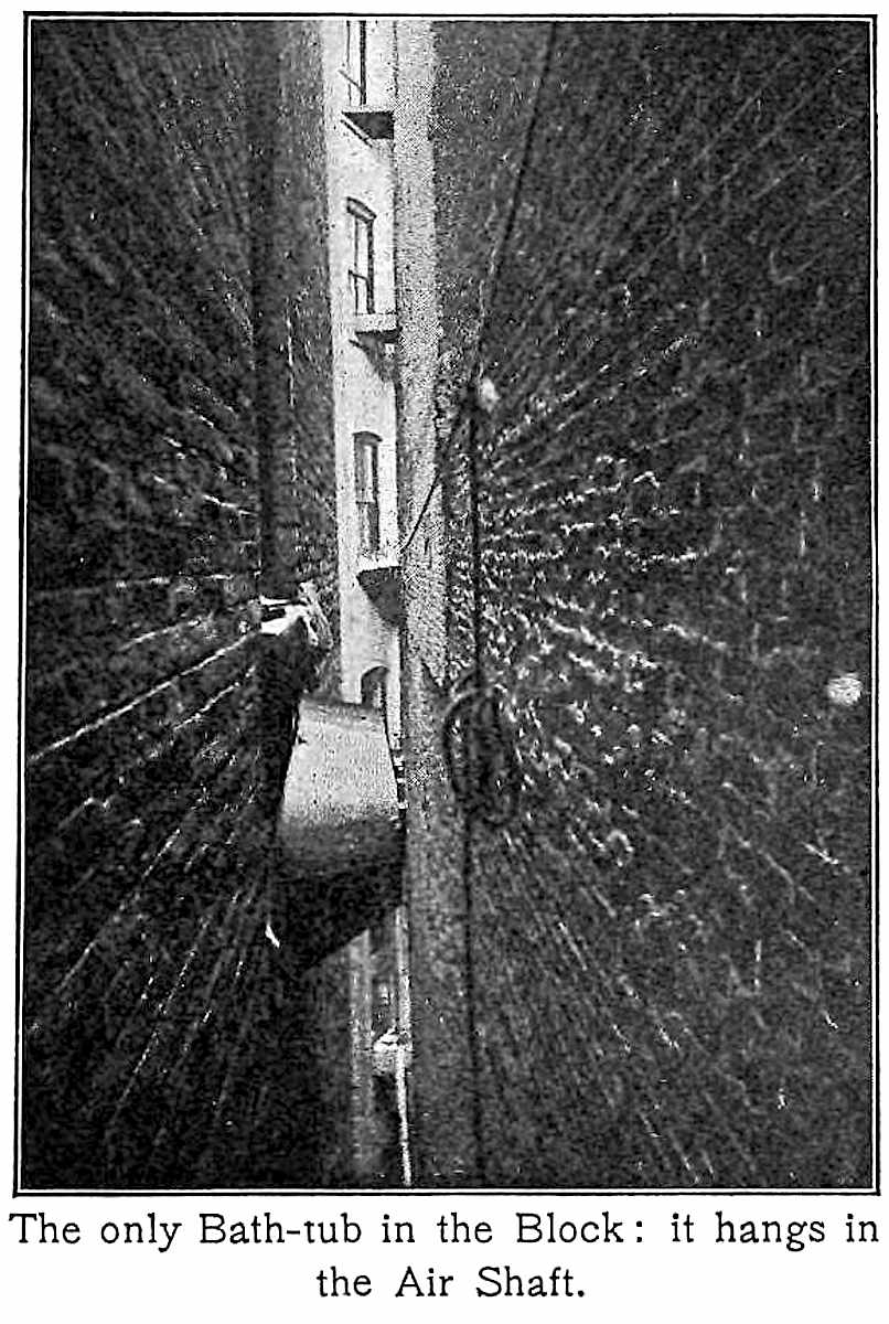 "a photograph of an 1800s New York tenement block air shaft with a bath tub stuck in it: ""The only Bath-tub in the block"""