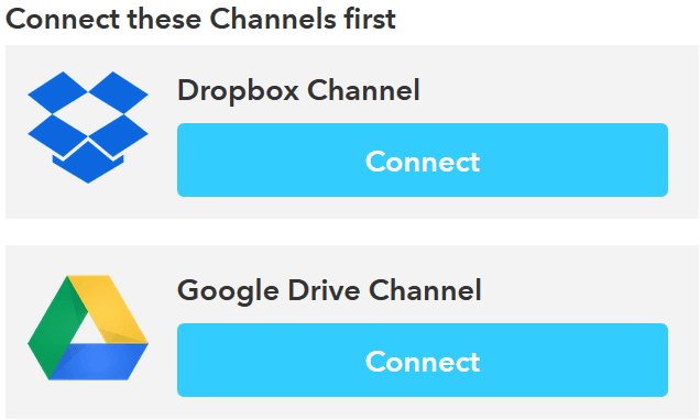 Authorize channels on IFTTT