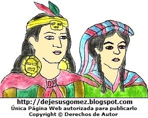 Ilustración de Manco Cápac y Mama Ocllo para niños. Dibujo de Manco Cápac y Mama Ocllo hecho por Jesus Gómez