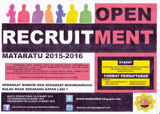 Open Recruitmen Kepengurusan Mataratu 2015/2016