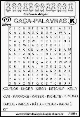 Caça-palavras alfabéticas-letra K