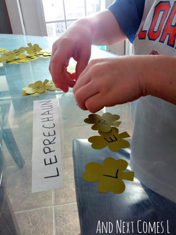 St. Patrick's Day spelling activity for kids from And Next Comes L