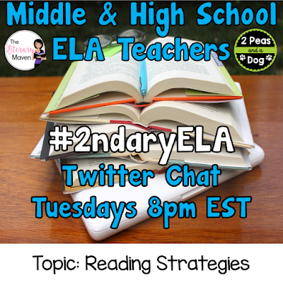 Join secondary English Language Arts teachers Tuesday evenings at 8 pm EST on Twitter. This week's chat will be about reading strategies.