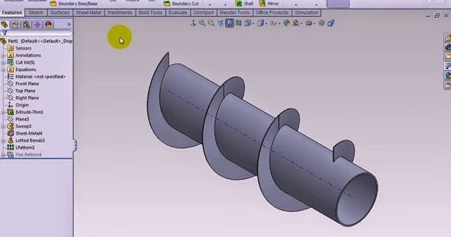 How To Make Screw Conveyor To Sheet Metal In Solidworks Solidworks