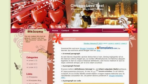 chicago love beat blogger template 2014,love template,free template download,red color,two color,blogger template