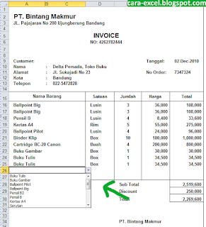 Contoh Invoice Excel Tagihan