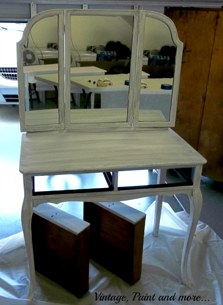 Vintage, Paint and more... vanity with primer painted on