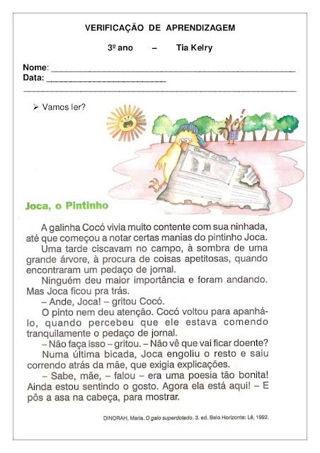 Avaliação de língua portuguesa 3 ano