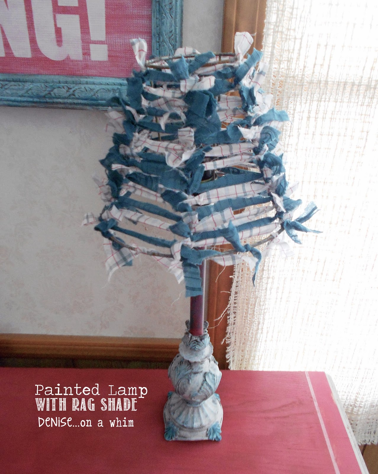 painted lamp with a DIY rag lampshade via http://deniseonawhim.blogspot.com