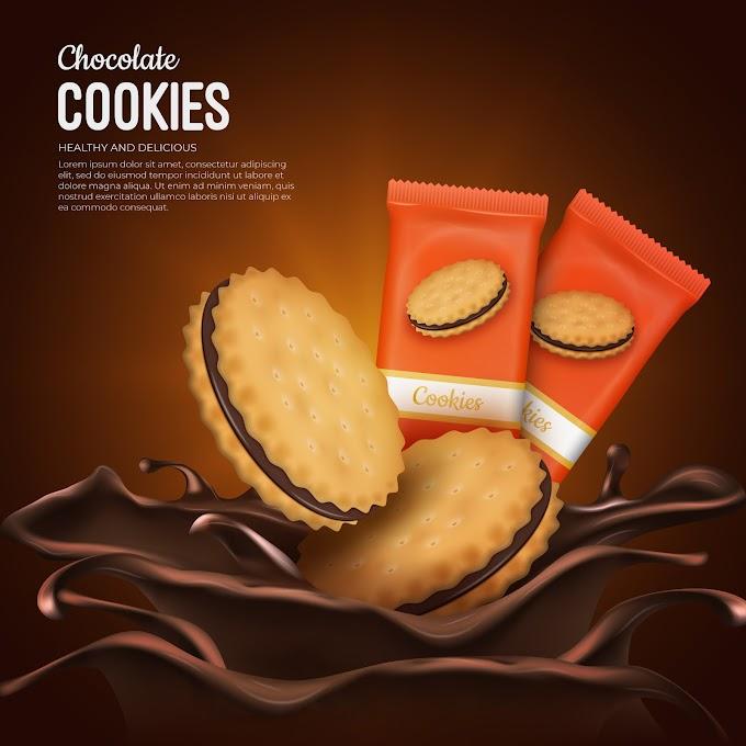 Chocolate cookies advertisement background Free Vector