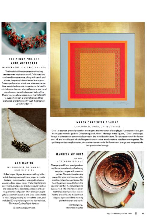 Uppercase magazine page featuring artistic metal projects and jewellery