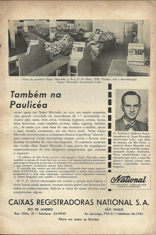 Propaganda anunciando os primeiros supermercados no Brasil nos anos 50