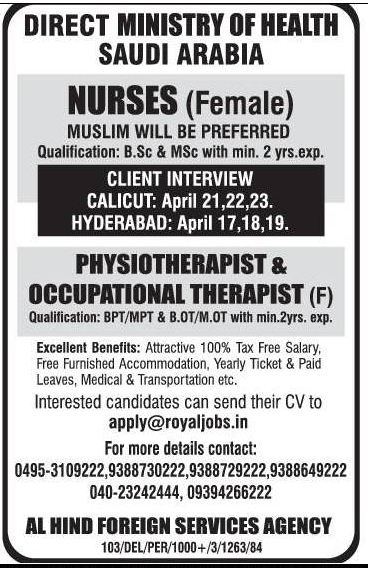 Direct Moh Nurses Physiotherapist For Ksa Gulf Jobs For