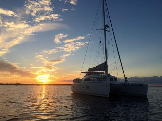 Sailing Catamaran Independence at sunset, Key Largo