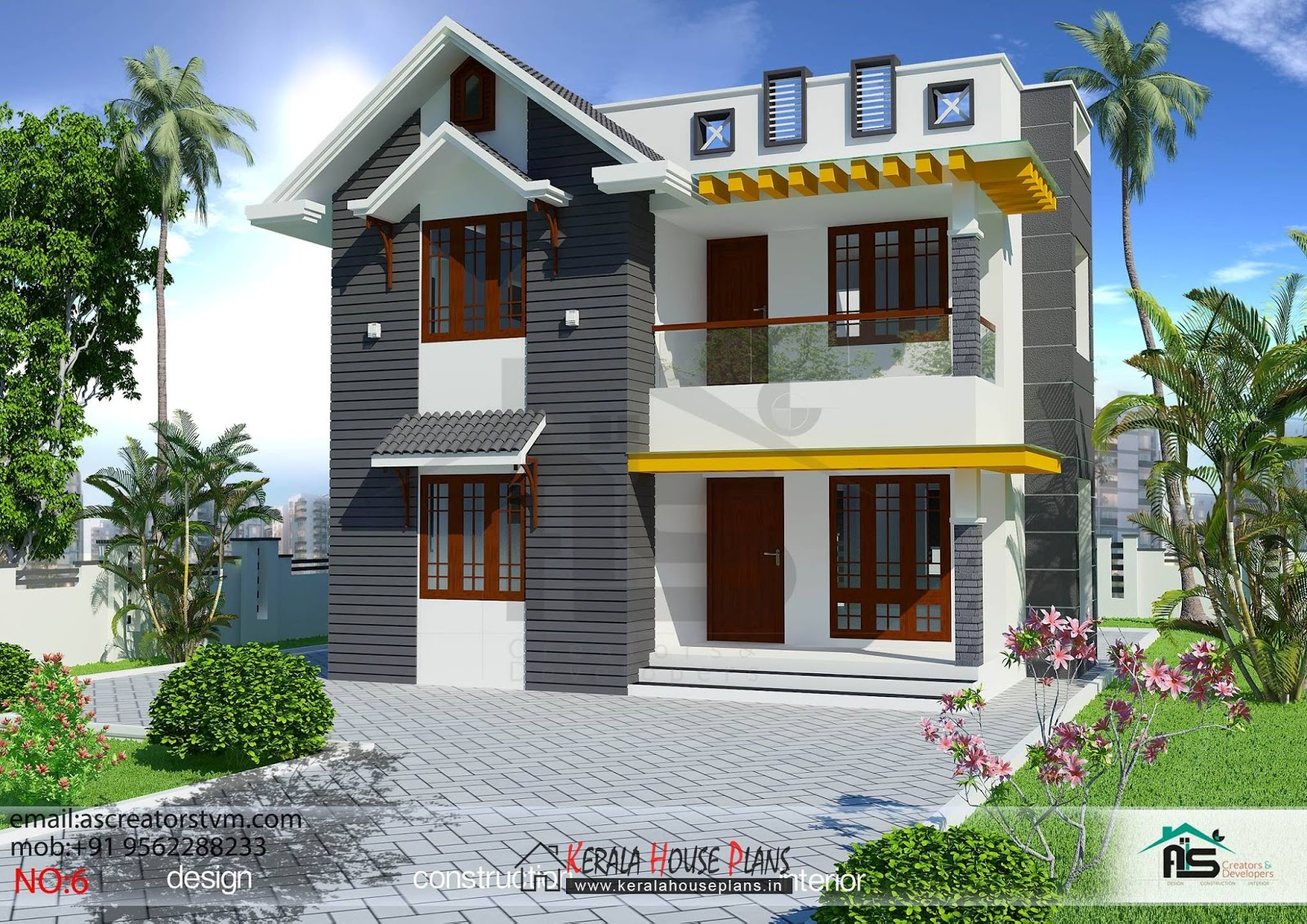 3 bedroom house plans in kerala double floor kerala for Three bedroom house plans kerala style