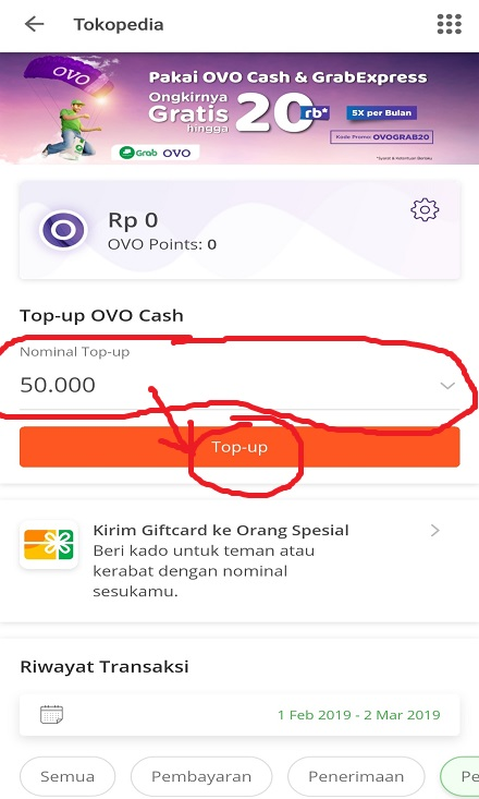 Memilih Nominal Top Up OVO Cash Tokopedia.