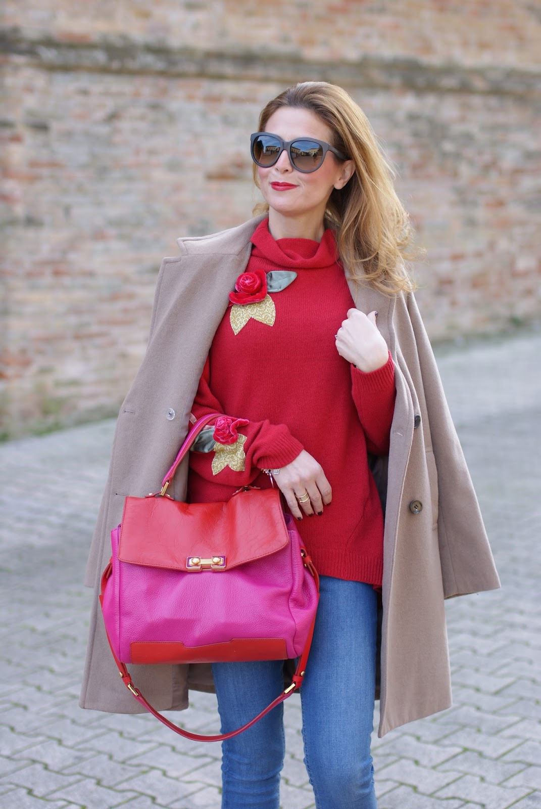 Camel boyfriend coat and red sweater with roses on Fashion and Cookies fashion blog, fashion blogger style