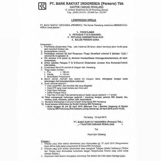 Lowongan Kerja Bank Rakyat Indonesia (Persero) Kanca Pemalang Minimal SMA D3