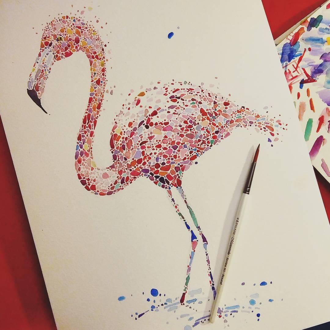 18-Pink-Flamingo-Ana-Enshina-anaensh-Dot-and-Circle-Animal-Paintings-Ishihara-Test-www-designstack-co