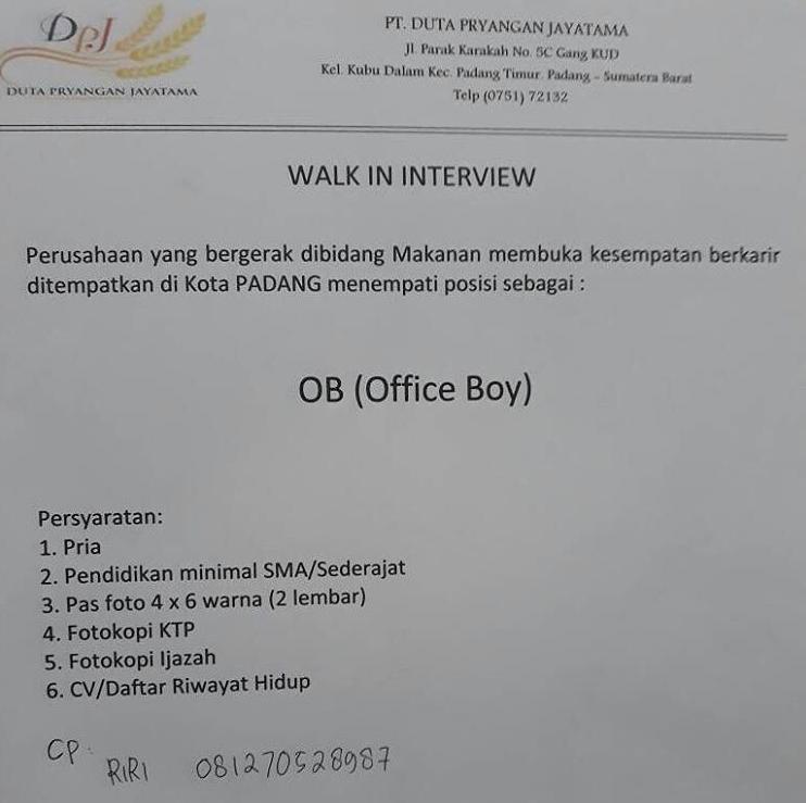 Lowongan Kerja PT. Duta Pryangan Jayatama