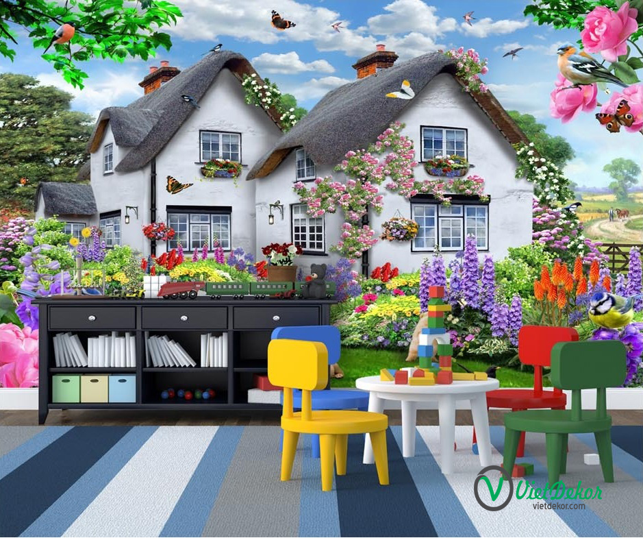 Tranh dán tường 3d phong cảnh biệt thự nhà vườn