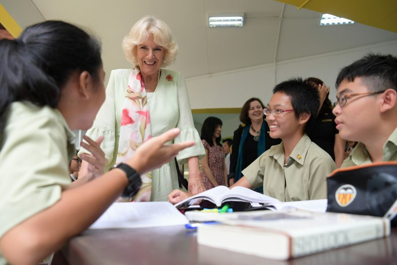Duchess Camilla meeting students at Temasek Junior College.