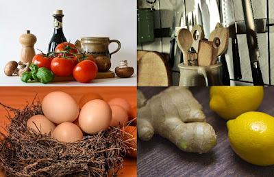 sendok kayu, jahe, lemon, telur
