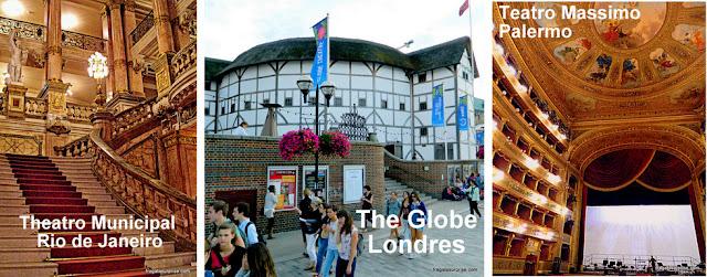 Theatro Municipal do Rio de Janeiro, The Globe, de Londres, e Teatro Massimo de Palermo, Itália