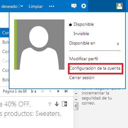 Eliminar una cuenta de Outlook.com