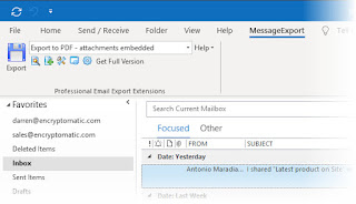 MessageExport tab in Outlook 365