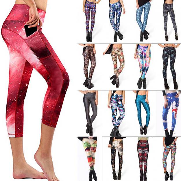High Waist women Colorful yoga and workout Capri leggings pants