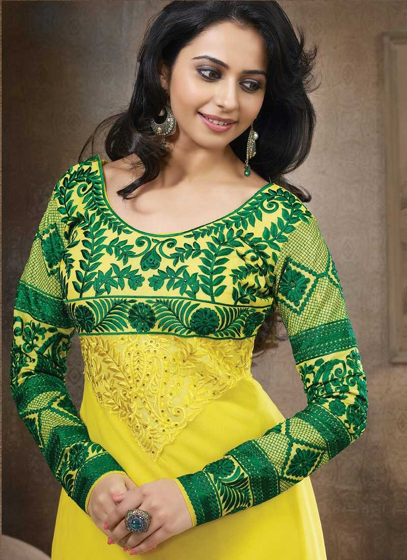 Rakul Preet Photos In Embroidery Georgette Yellow Anarkali Dress