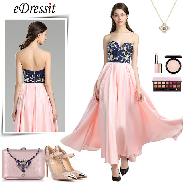 strapless blue pink floral satin evening dress
