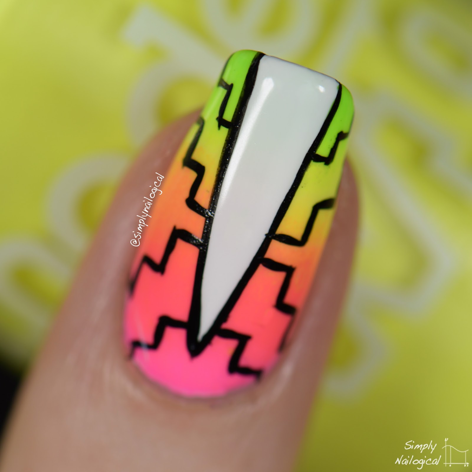 Simply Nailogical Neon Gradient Pattern Nails For Summah