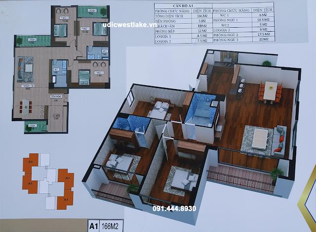 Mặt bằng thiết kế căn hộ A1 - Tháp A chung cư UDIC Westlake