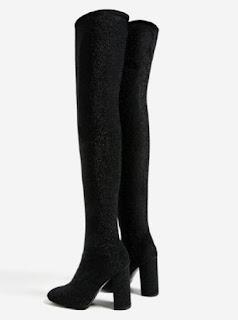 Zara over the knee high heel sock boots in glitter black