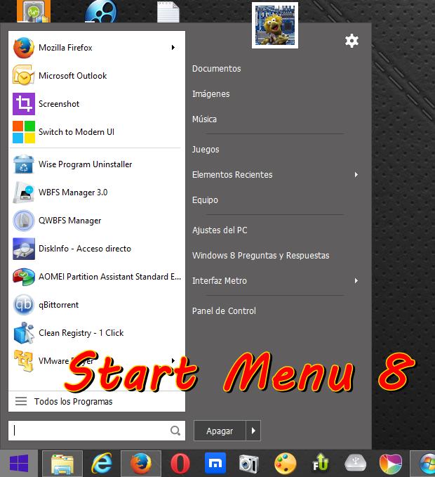 Start Menu 8 v3.1.0 [Vuelve al menú de inicio de Windows 7 y agrega nuevas características]