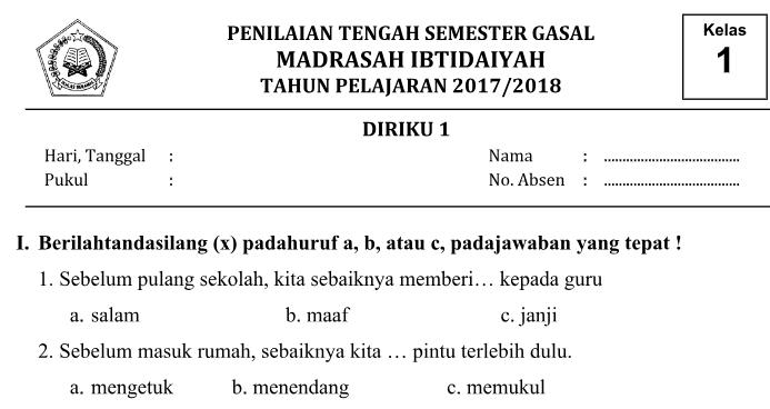 Soal Pts Uts Kelas 1 Tema 1 Diriku Kurikulum 13 Semester 1