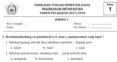 Soal PTS/UTS Kelas 1 Tema 1 Diriku Kurikulum 13 Semester 1